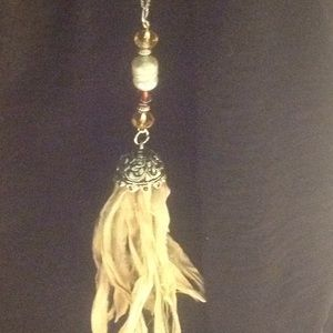 Beige sari silk tassel necklace with beads,Pearl
